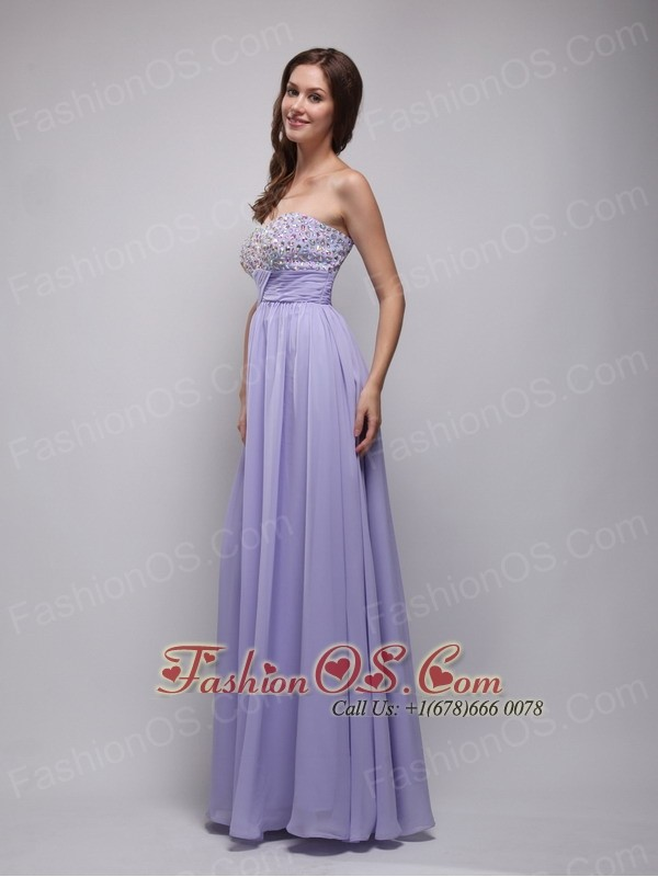 Lilac Empire Strapless Floor-length Chiffon Beading Prom Dress ...