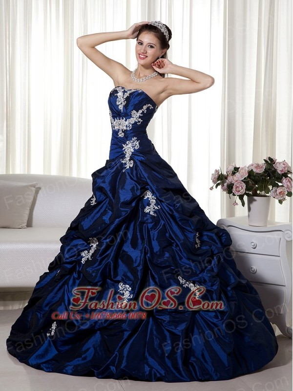 Navy Blue Ball Gown Strapless Taffeta Appliques Prom Dress-  168.69 595d1f968b52