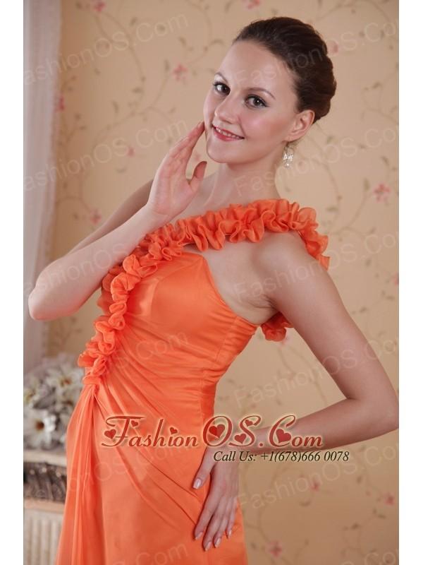Orange Empire One Shoulder Sweep / Brush Train Chiffon Prom Dress