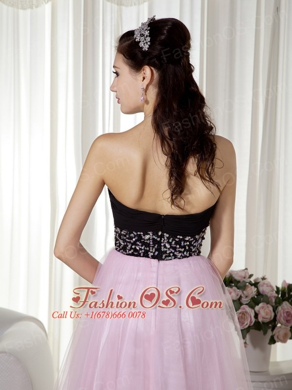 sweetheart black and pink floor length prom dresses