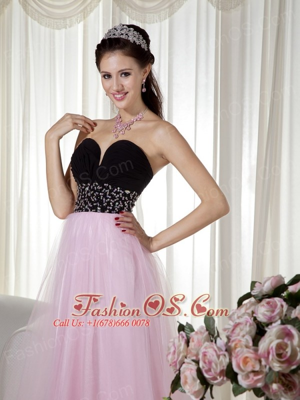 Pink and Black Tulle Dress