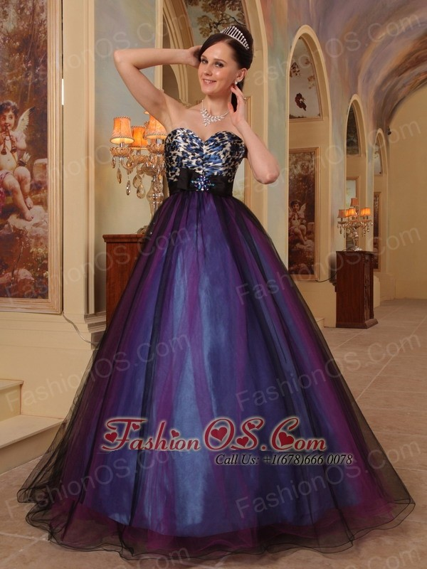 Purple A-line Sweetheart Floor-length Organza Beading Prom / Pageant ...