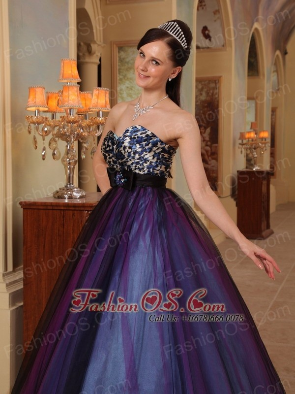 Purple A-line Sweetheart Floor-length Organza Beading Prom / Pageant Dress