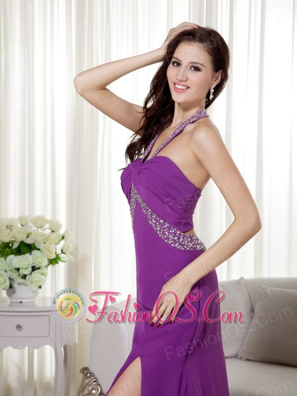 Purple Column Halter Brush Train Chiffon Beading and Ruch Prom / Celebrity Dress