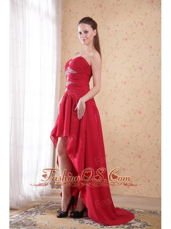 Red A-Line / Princess Sweetheart High-low Chiffon Beading Prom Dress
