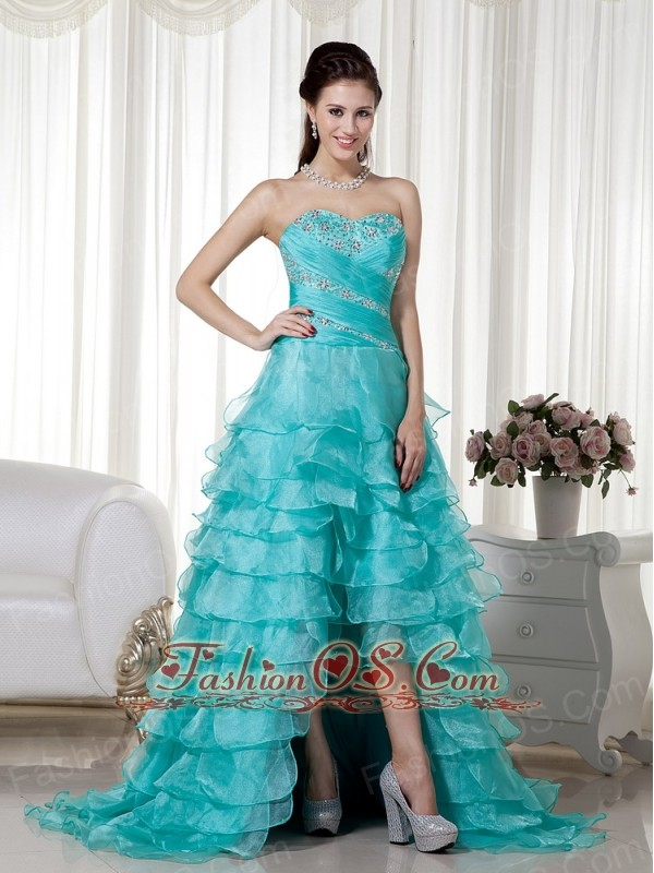 Turquoise  A-line Sweetheart Brush Train Organza Beading Prom / Evening Dress