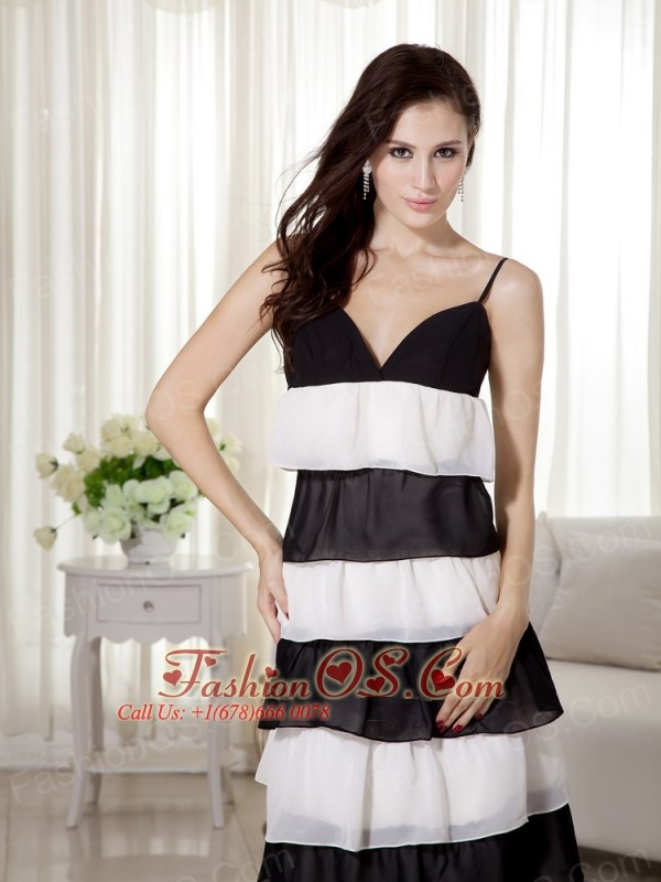 White and Black Empire Spaghetti Straps Ankle-length Chiffon Prom Dress