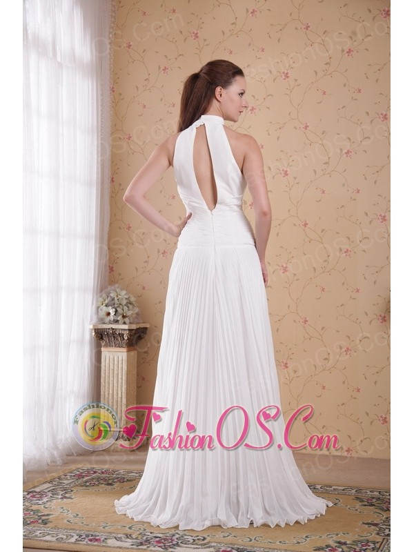 White Empire High-neck Floor-length Chiffon Pleat Prom Dress