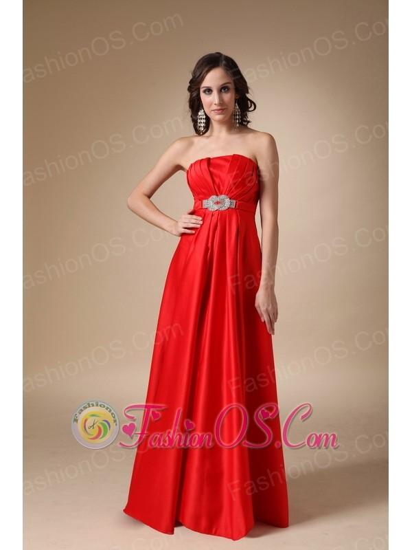 Wine Red A-line Strapless Floor-length Satin Beading Prom Dress