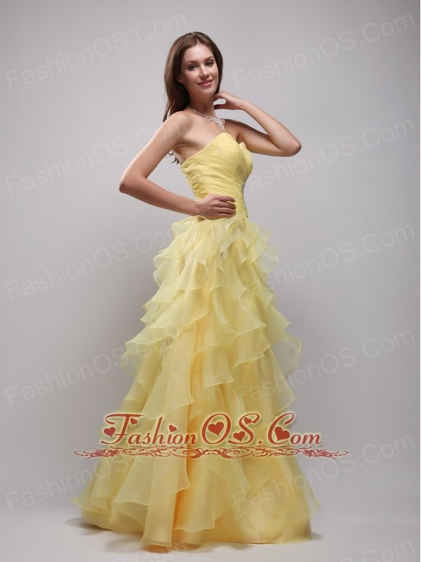 Yellow Empire Sweetheart Floor-lenth Organza Ruffles and Appliques Prom / Evening Dress
