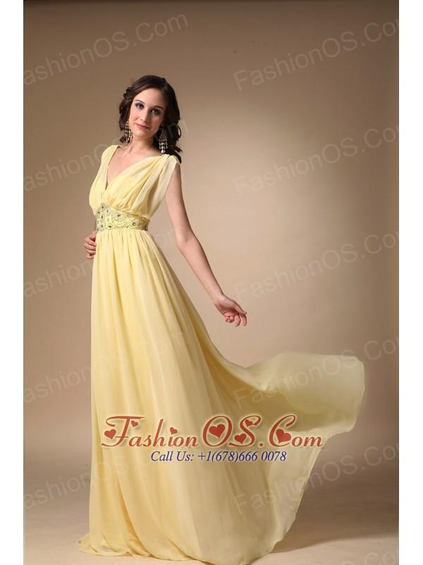 Yellow Empire V-neck Floor-length Chiffon Beading Prom / Celebrity Dress