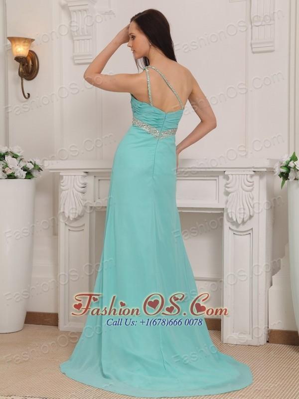 Turquoise Column One Shoulder Brush Train Chiffon Beading Prom / Pageant Dress