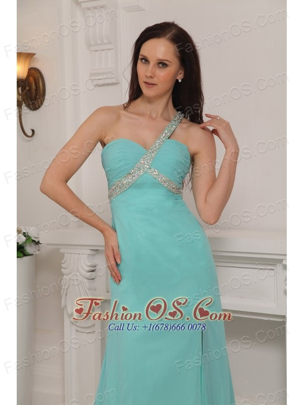 Turquoise Column One Shoulder Brush Train Chiffon Beading Prom / Pageant Dress