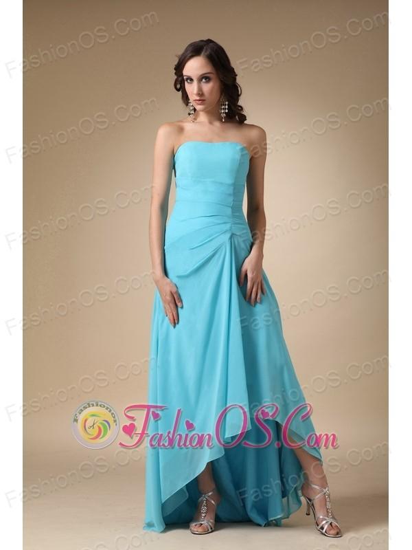 Aqua Blue A-line Strapless Asymmetrical Chiffon and Elastic Woven Satin Prom Dress