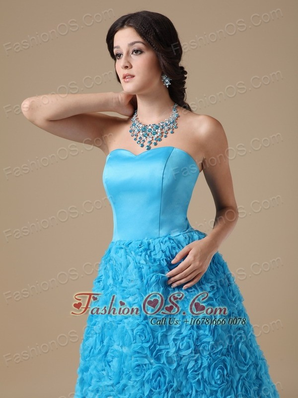 Teal A-line Strapless Floor-length Fabric With Rolling Flower Prom Dress