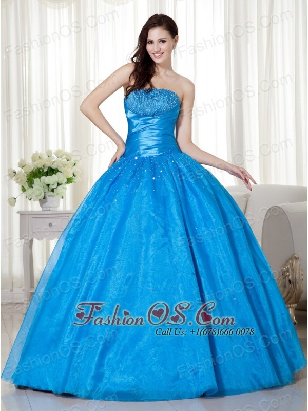 Sky Blue Ball Gown Strapless Floor-length Taffeta  Beading Quinceanera Dress
