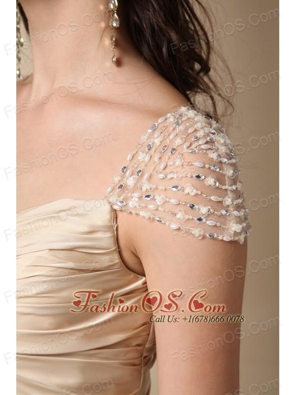 Gold Column Sweetheart Brush Train Taffeta Ruch Prom Dress