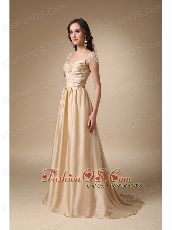 Gold Column Sweetheart Brush Train Taffeta Ruch Prom Dress