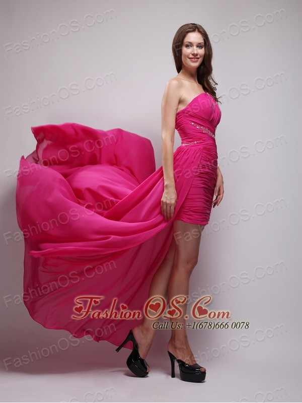 Hot Pink High-Low Chiffon One Shoulder Beading Prom / Evening Dress ...