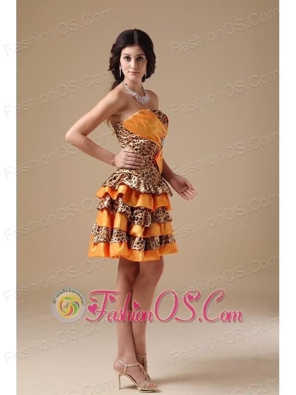 Multi-color A-line Strapless Mini-length Taffeta and Leopard Beading Prom Dress