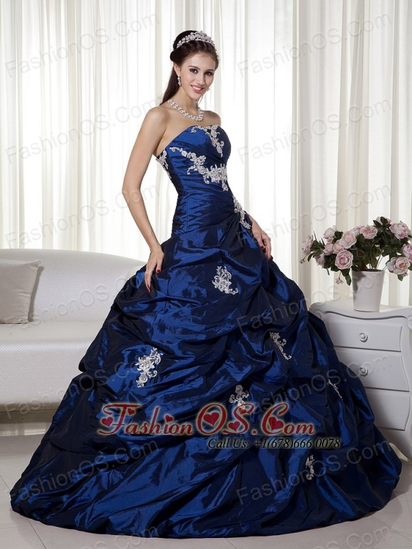 Navy Blue Pretty Quinceanera Dress Strapless Floor-length Taffeta Appliques