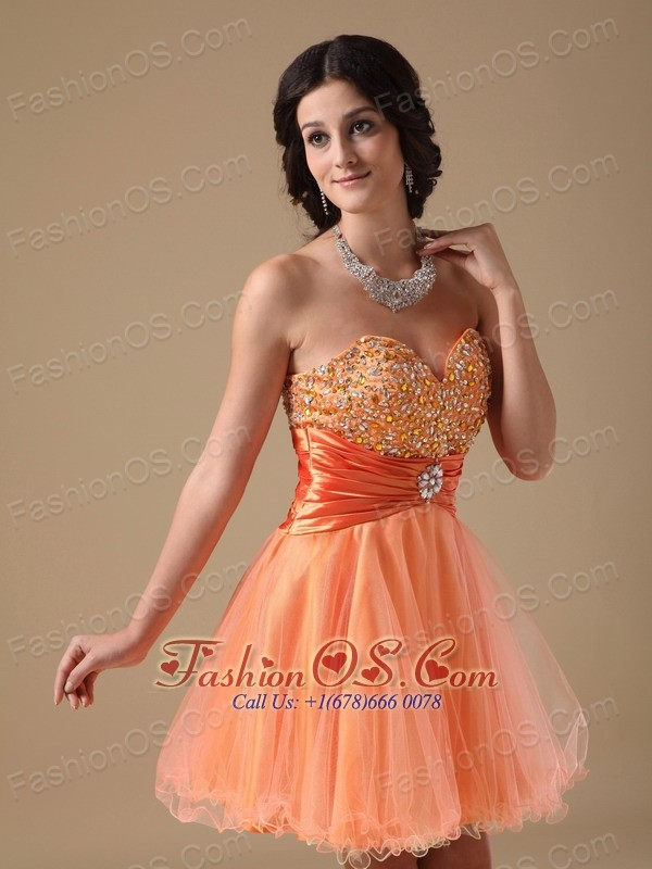 Orange Red A-line Sweetheart Mini-length Organza Beading Prom Dress