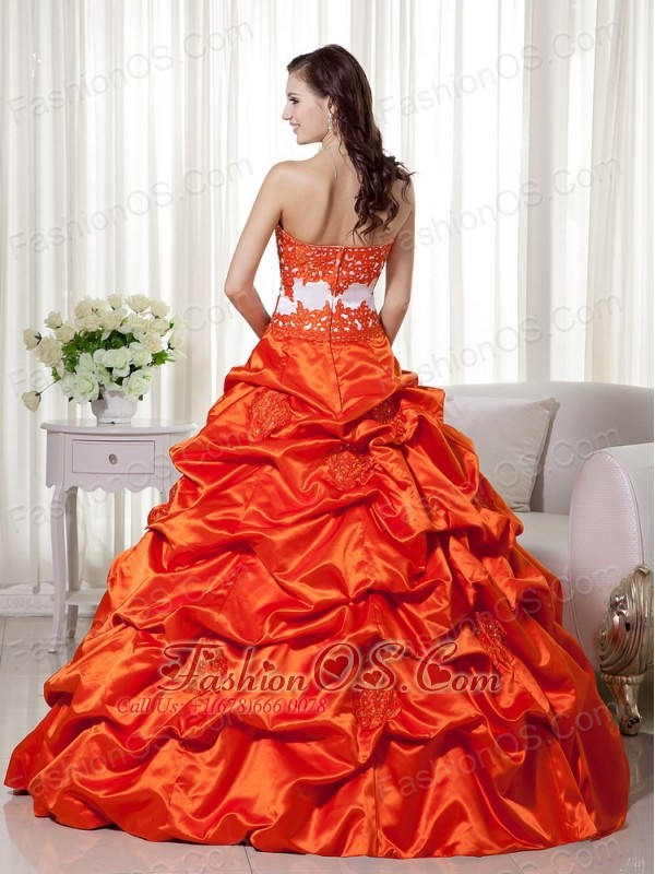 Orange Red A-line Sweetheart Floor-length Taffeta Appliques Quinceanera Dress