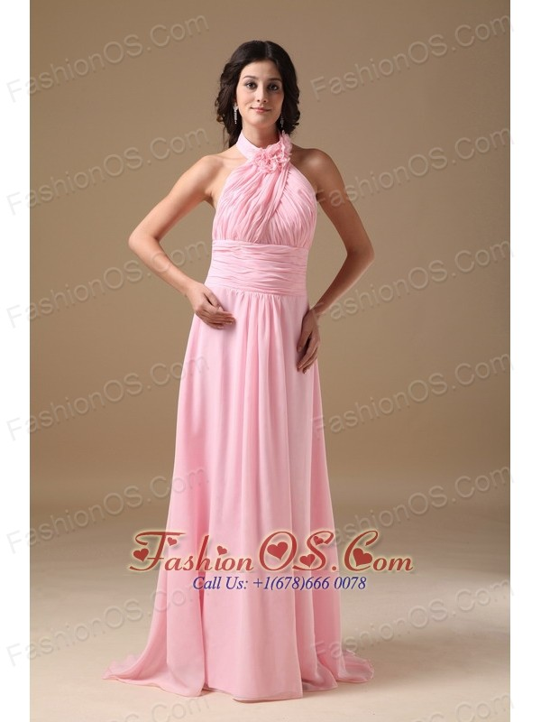 Pink Empire Halter Brush Train Chiffon Ruch Prom Dress