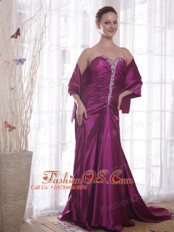 Dark Purple A-Line / Princess Sweetheart Court Train Taffeta Beading Prom Dress