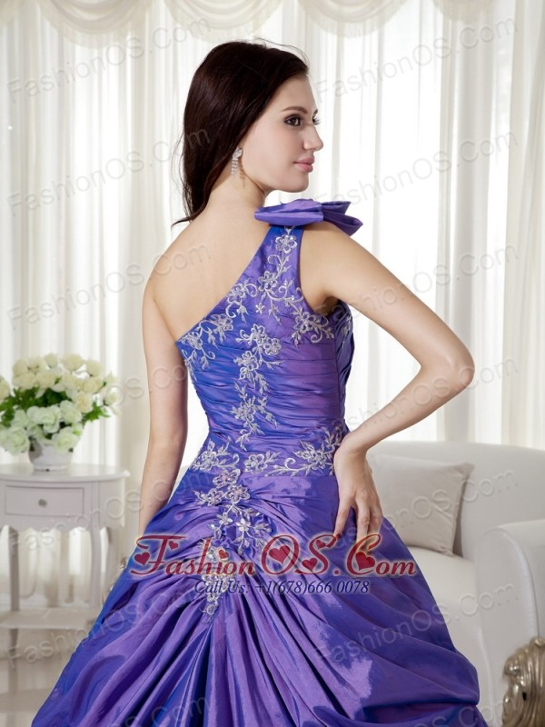 Purple Ball Gown One Shoulder Floor-length Taffeta and Organza Appliques Quinceanera Dress