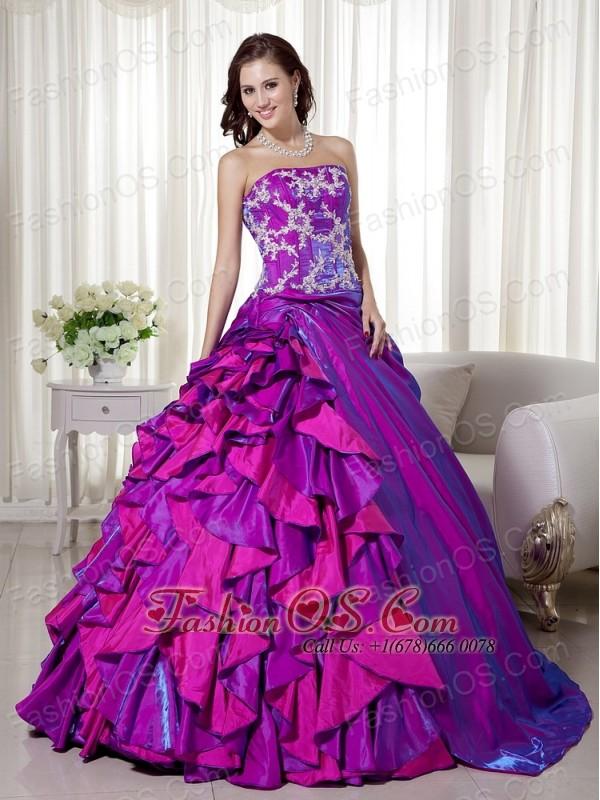 Purple Ball Gown Strapless Floor-length Taffeta Appliques Quinceanera Dress