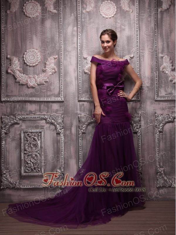 Dark purple mermaid prom dress