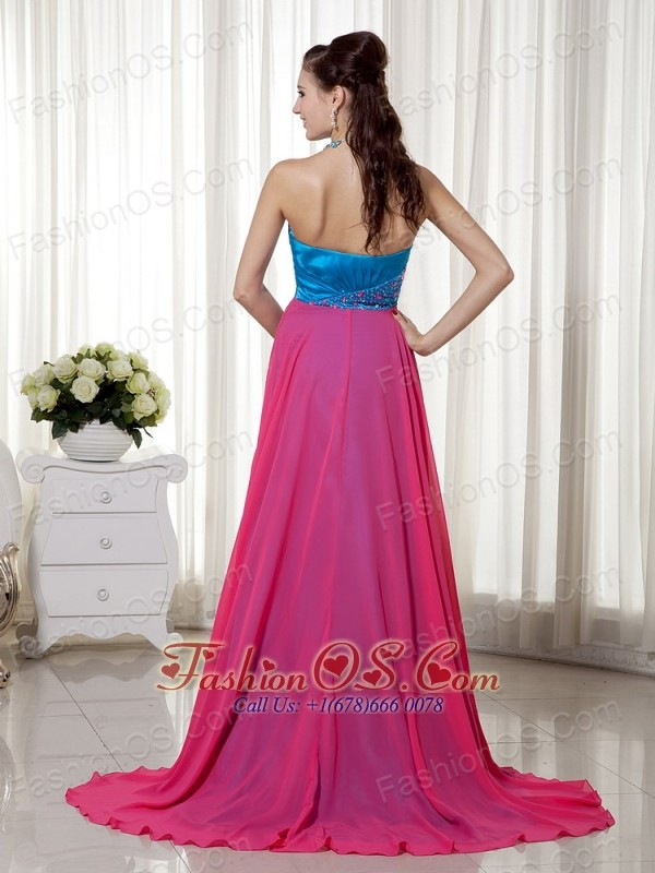 Sky Blue and Hot Pink Sweetheart Beading Prom Dress Brush Chiffon and Elastic Woven Satin
