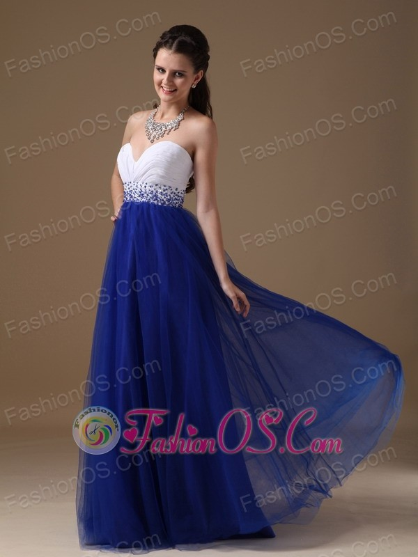White and Royal Blue A-line Sweetheart Floor-length Tulle and ...