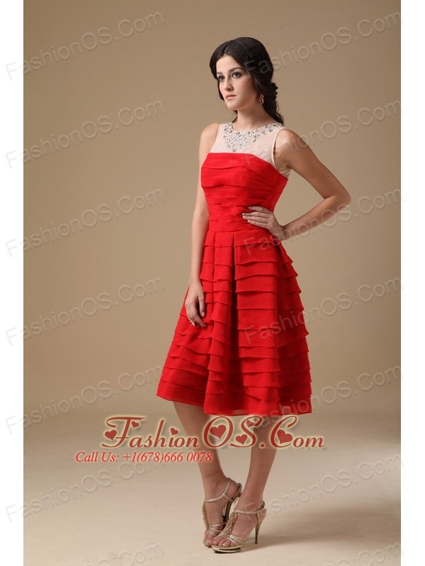 White and Red A-line Bateau Knee-length Chiffon Beading Prom Dress