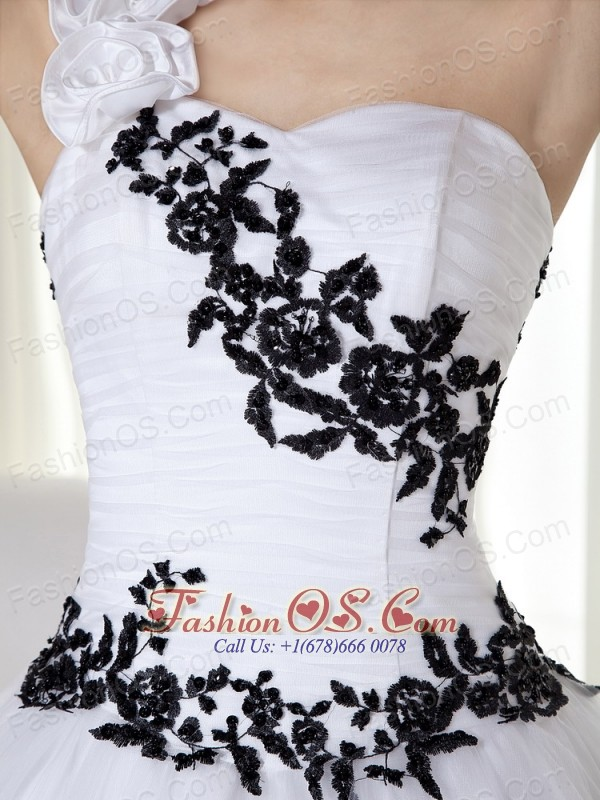 White Ball Gown One Shoulder Floor-length Taffeta and Organza Embroidery Quinceanera Dress