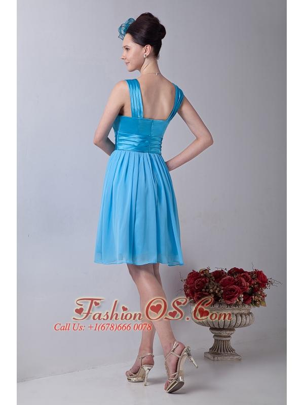 Sky Blue Empire Straps Knee-length Chiffon Cocktail Dress