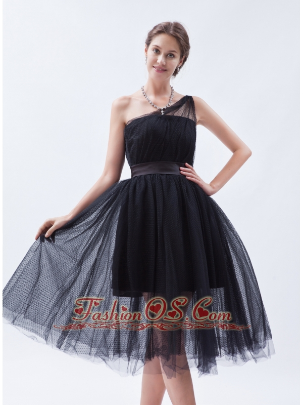 black bridesmaid princess dresses tea length