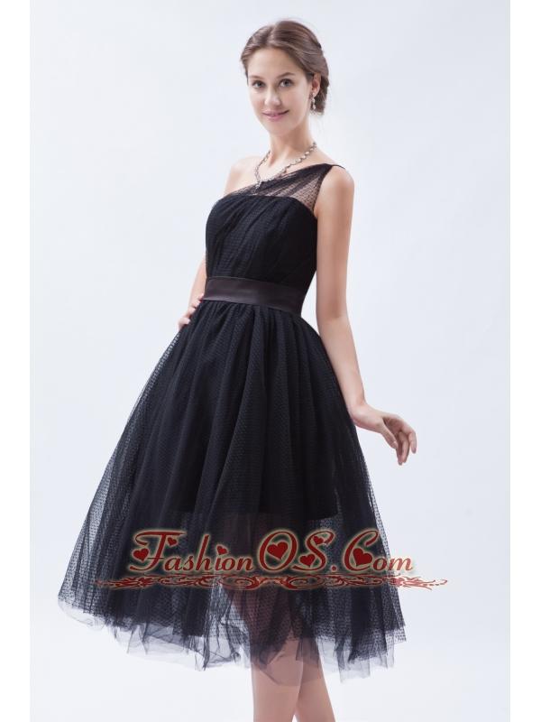 Black a line princess one shoulder tea length tulle for One shoulder tea length wedding dress