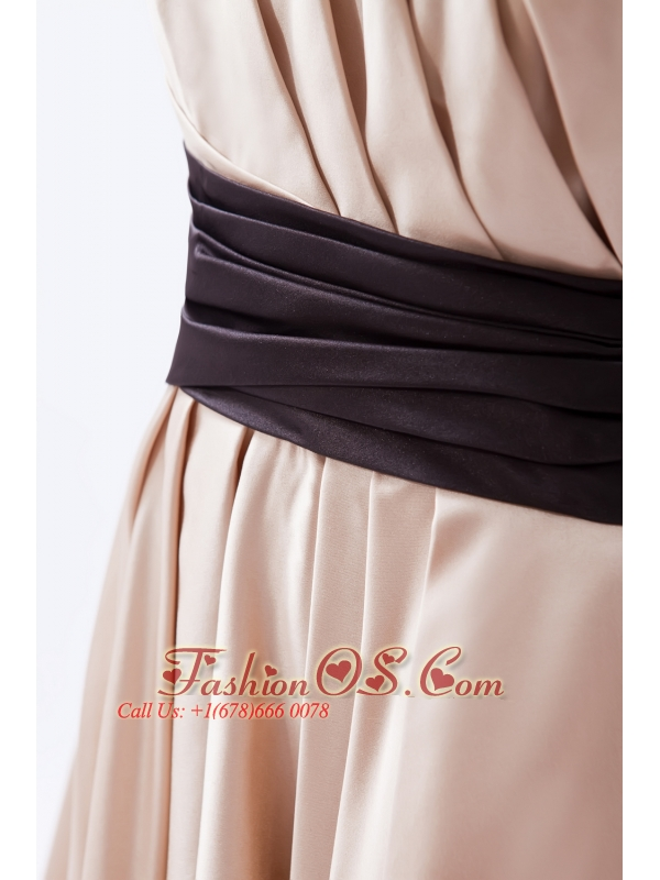 Champagne A-line / Princess One Shoulder Tea-length Satin Ruch Bridesmaid Dress