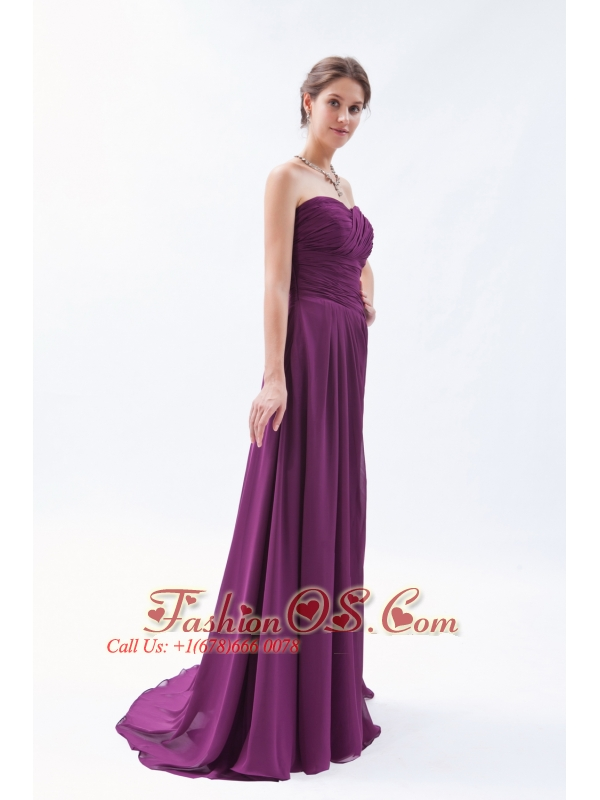 Dark Purple Empire Sweetheart Brush Train Chiffon Ruch Bridesmaid Dress