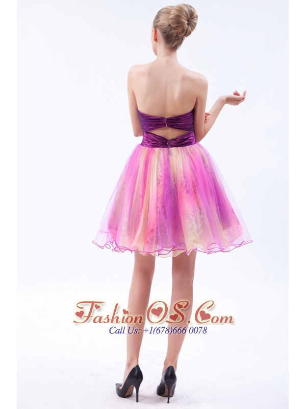 Multi-color A-line Sweetheart Mini-length Organza Beading Cocktail Dress