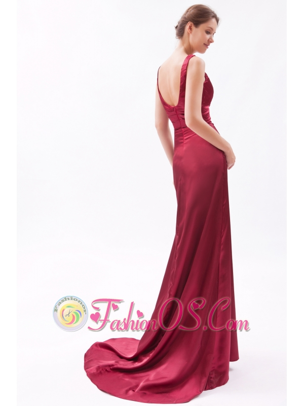 Red Column V-neck Brush Train Taffeta Ruch Bridesmaid Dress