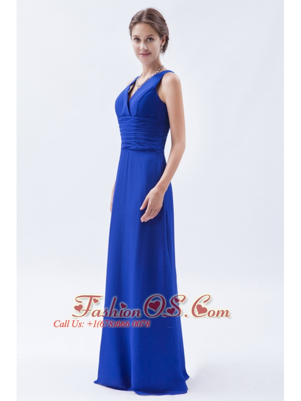 Royal Blue Column / Sheath V-neck Floor-length Chiffon Ruch Bridesmaid Dress