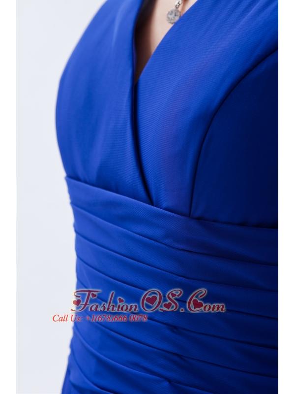 Royal Blue Column / Sheath V-neck Floor-length Chiffon Ruch Bridesmaid Dress