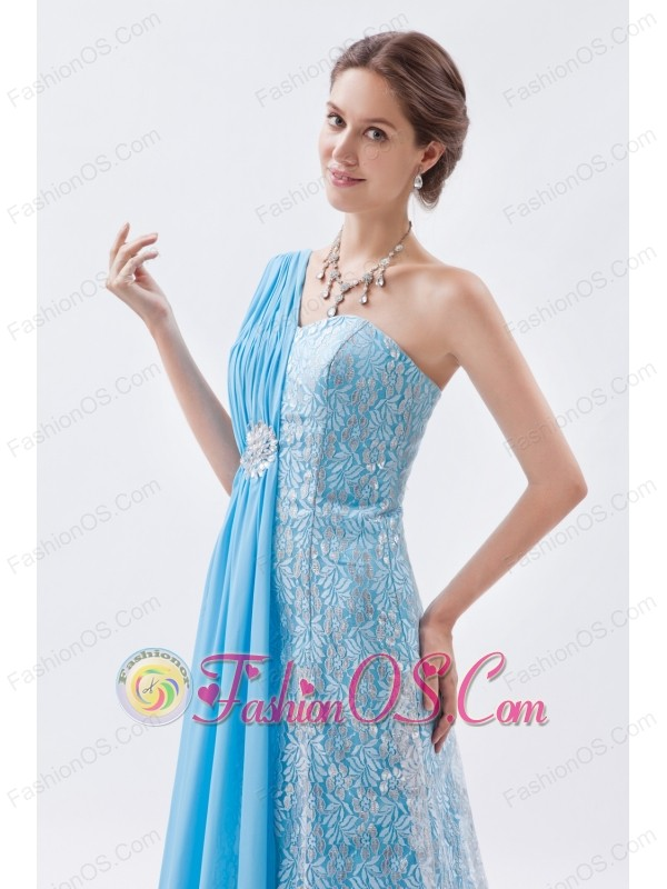 Baby Blue Empire One Shoulder Prom Dress Chiffon and Lace Beading Brush Train