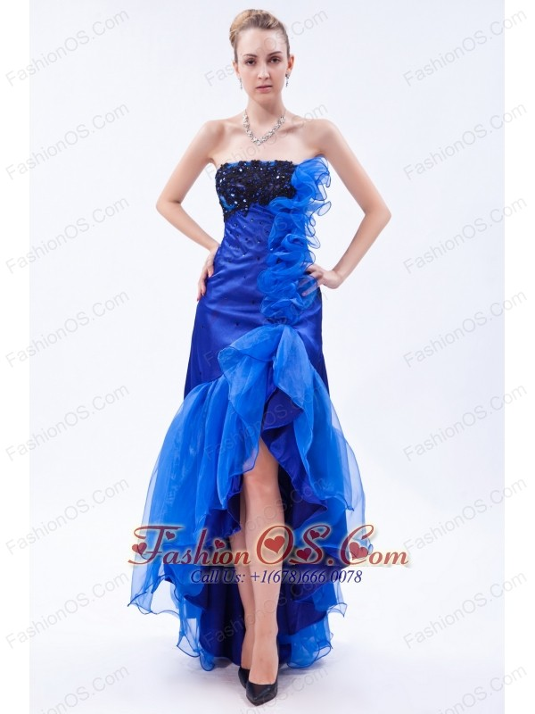 Royal Blue Mermaid Strapless High-low Prom Dress Organza Appliques ...