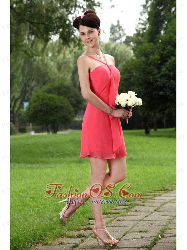 Coral Red Empire Straps Mini-length Chiffon Bridesmaid Dress