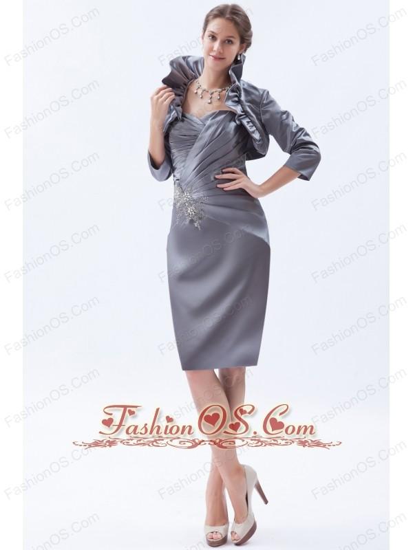 Sheath sweetheart knee length satin beading mother of the bride dress