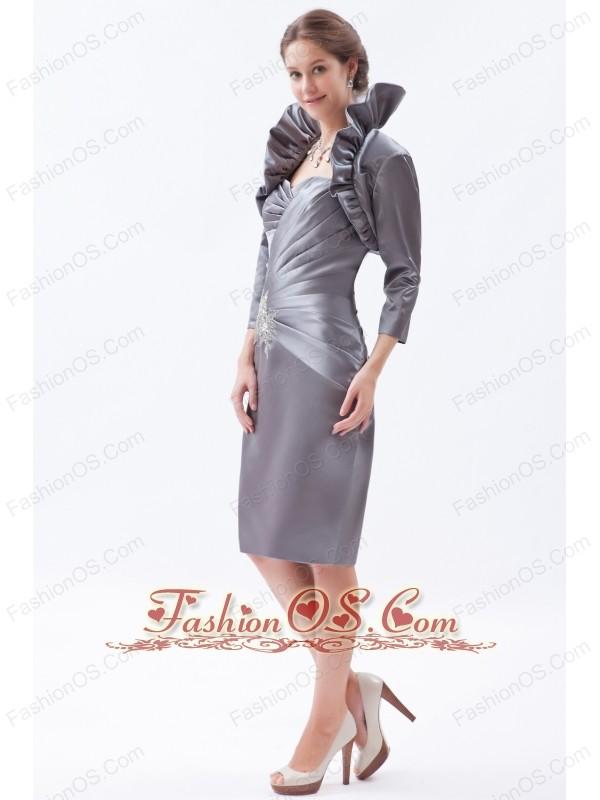 Grey Column / Sheath Sweetheart Knee-length Satin Beading Mother Of The Bride Dress